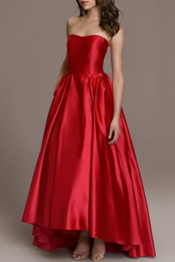 Betsy and Adam  Red Strapless Hi-Low A Line Ball Gown A18224-R