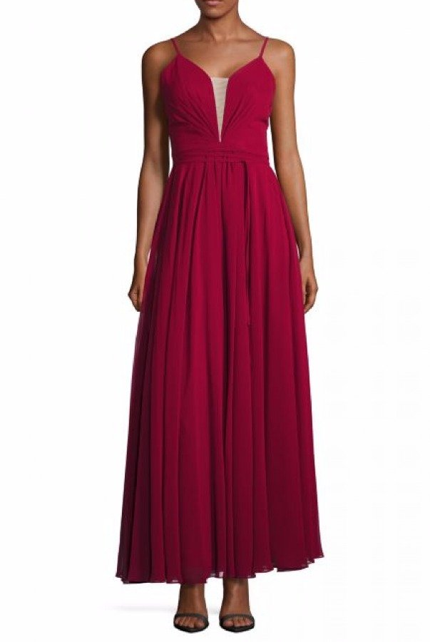 Betsy and Adam  Red Neck Tie Low Back Gown A19200