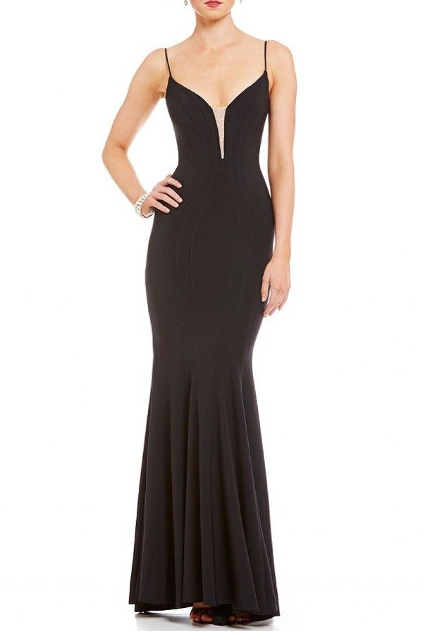 Betsy and Adam  Black Fitted V-Neck MermaidGown A18488