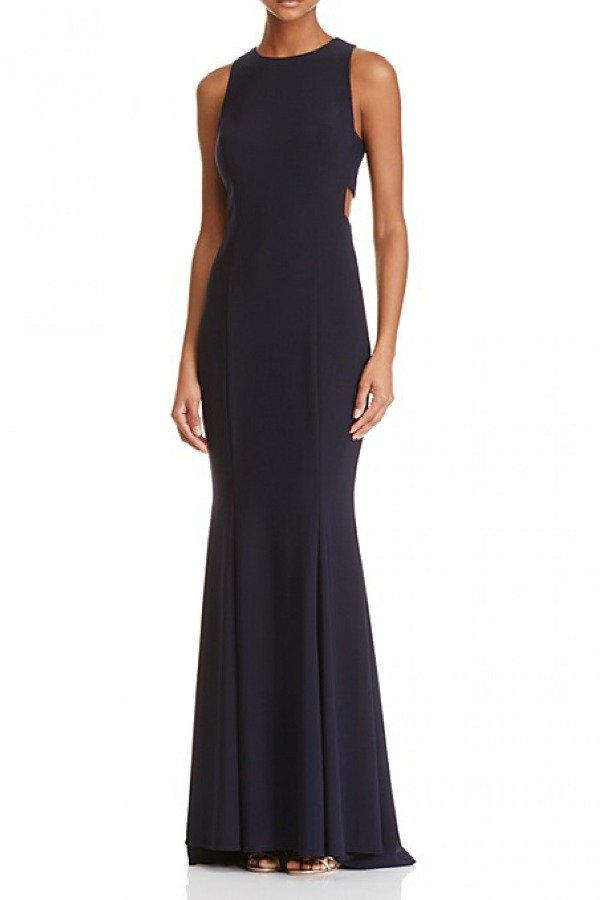 Betsy and Adam  Black Sleeveless Cutout Gown A19020