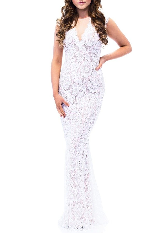 Betsy and Adam  White Illusion Lace V-Neck Gown A16568- W