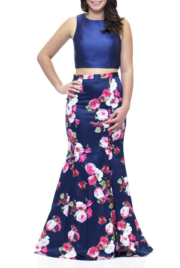 Xscape Navy Floral Print Two Piece Mermaid Dress XS8474-N