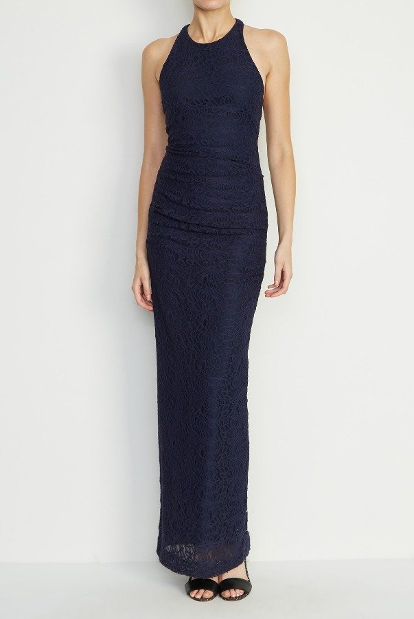 Nicole Miller Navy Floral Embroidered Cross Back Gown CF10172