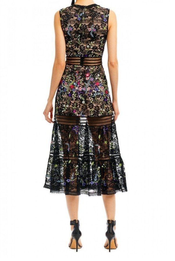 Nicole Miller Black Blooming Garden Midi Dress DA10014