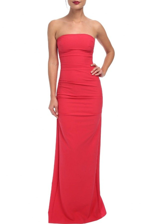 Nicole Miller Pink Crepe Strapless Gown BN10038