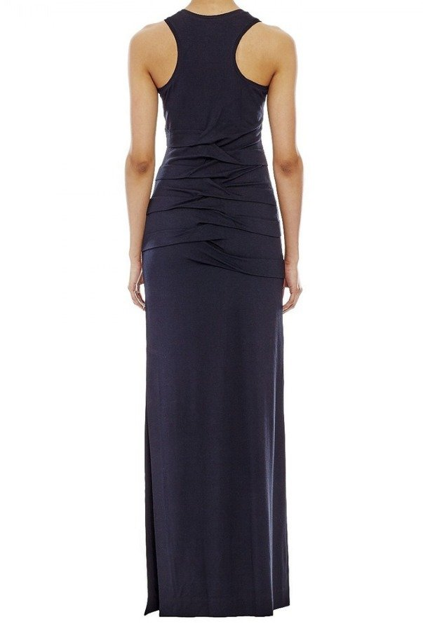 Nicole Miller Black Sleeveless Ruffled Maxi Dress BC0659