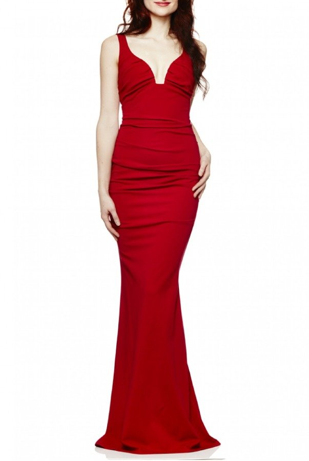 Nicole Miller Red Structured  Plunge Jersey Gown CL10023-Red
