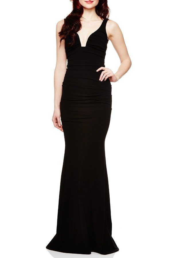 Nicole Miller Black Structured Jersey Gown CL10023-Black
