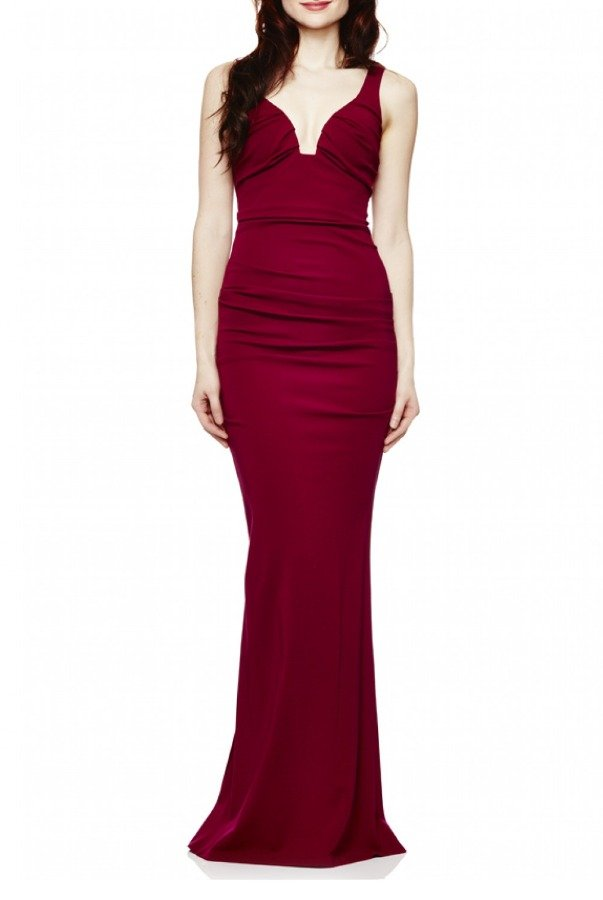 Nicole Miller Berry Plunge Jersey Gown CL10023-Berry