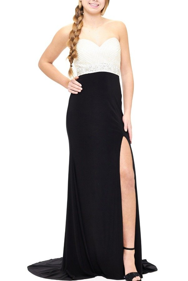 Milano Formals Black Ruched Sweetheart Gown E1871-S