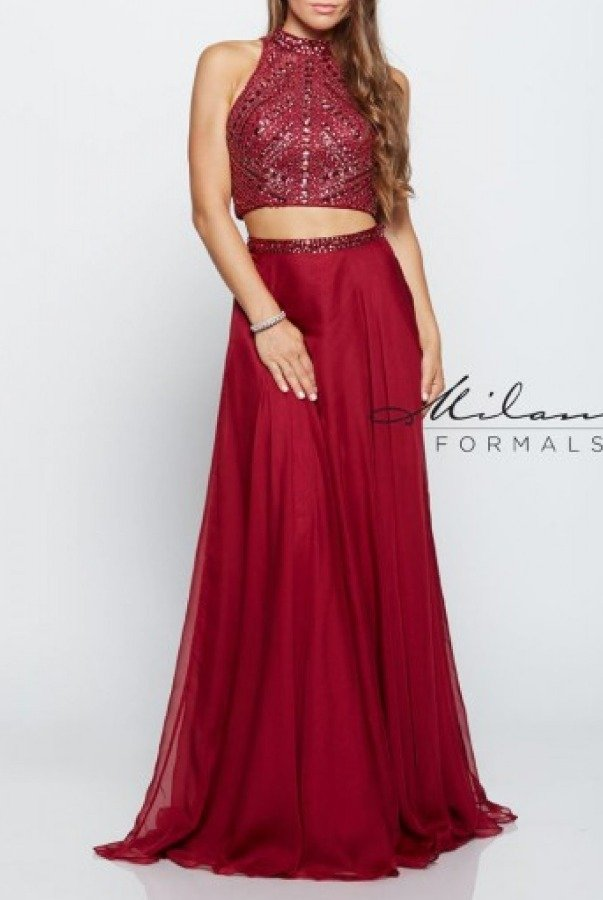 Milano Formals Burgundy Beaded  Two Piece Gown E2178