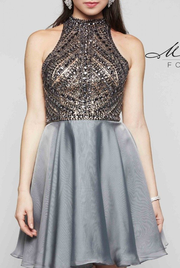 Milano Formals Gunmetal High Neck Beaded Cocktail Dress E2077