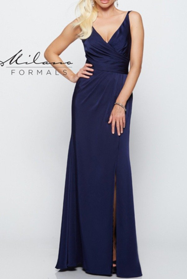 Milano Formals Navy Ruched Bodice Gown E2125