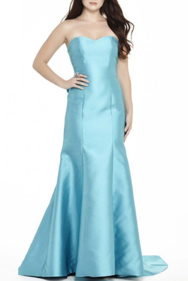 Private Label Blue  Strapless Ruffle Gown E70052