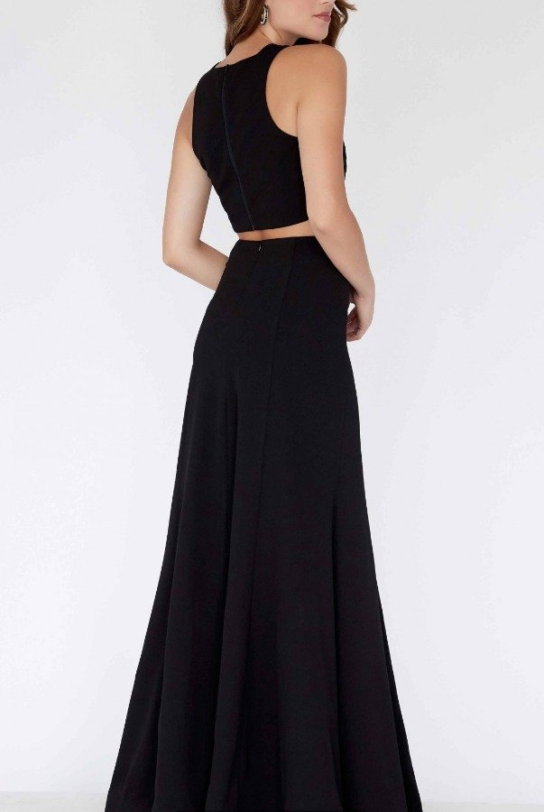 Private Label Black Fitted Two Piece Gown E80038