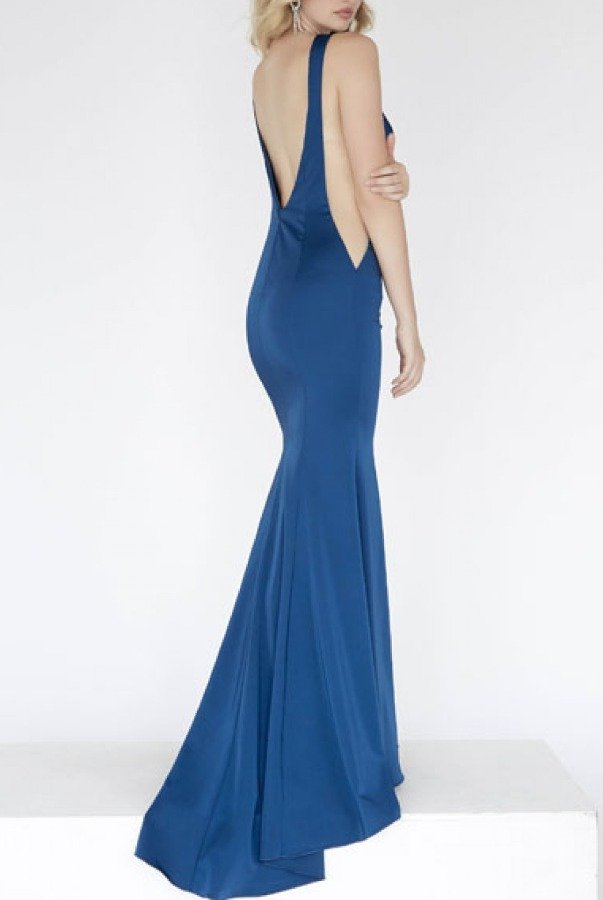 Private Label Blue Side Illusion Gown E80031