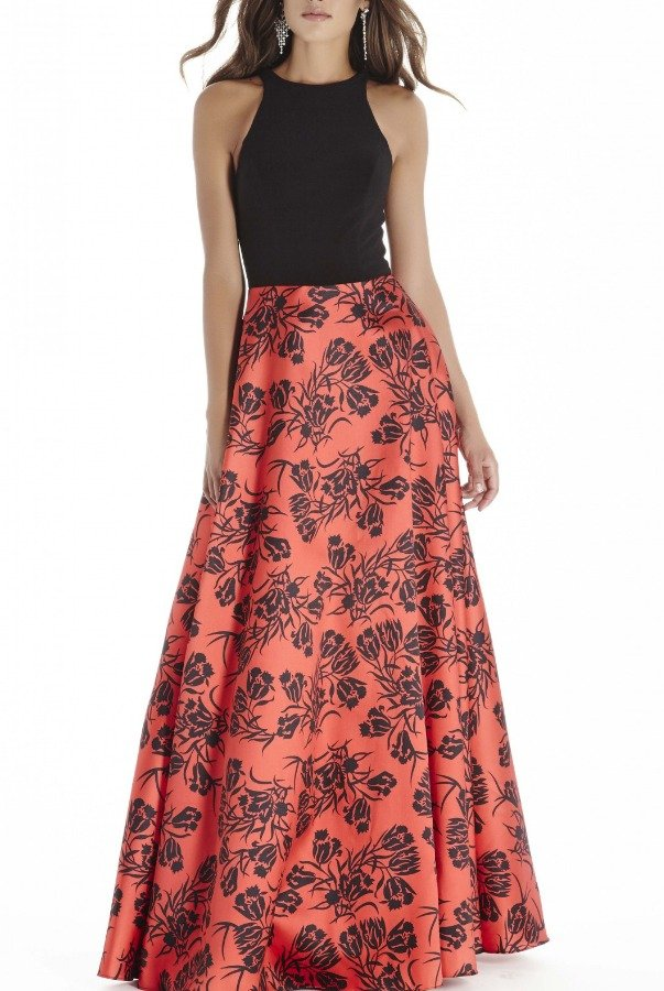 Private Label Black Red Sleeveless Floral Gown E70007