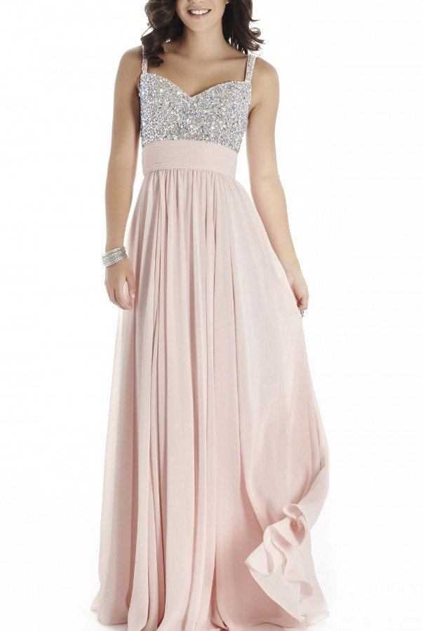Private Label Pink Sleeveless Beaded Gown E70019