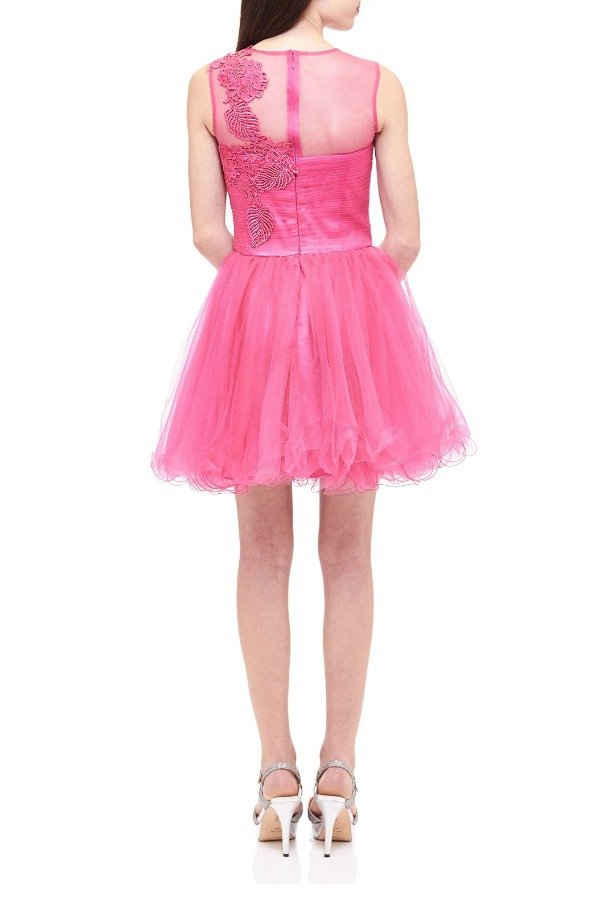 Lexie by Mon Cheri Pink Floral Embroidered Tulle Dress TW11505-F