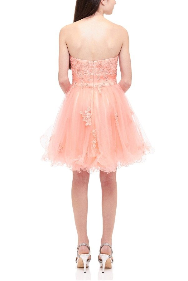 Lexie by Mon Cheri Coral Floral Lace Tulle Party Dress TW11504-C