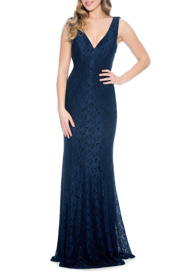 Decode 1 8 Navy Sparkle Detailed Sleeveless Lace Gown 183626