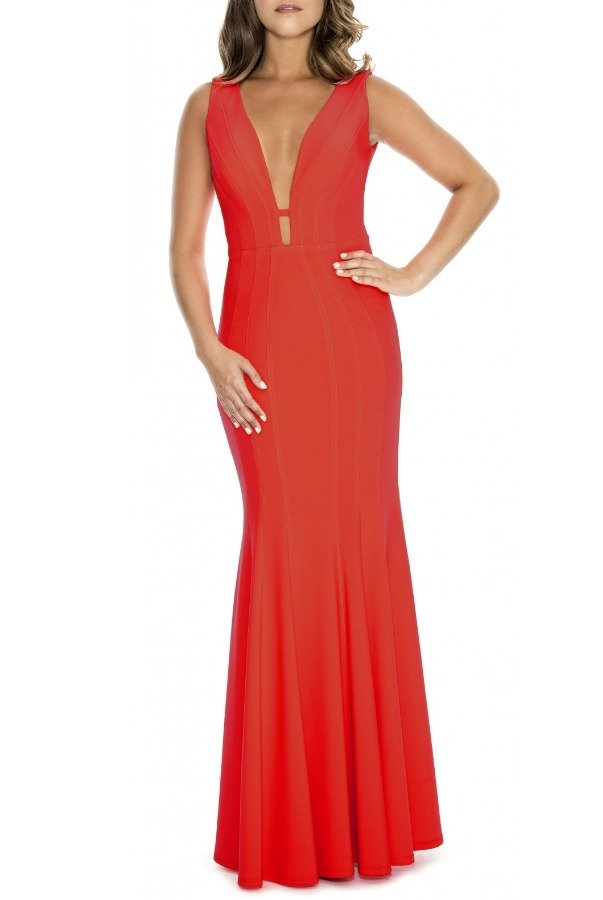 Decode 1 8 Red Sleeveless Fit and Flare Gown 183910