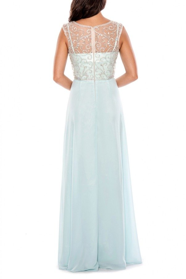 Decode 1 8 Mint Beaded Chiffon A-Line Gown 183341W