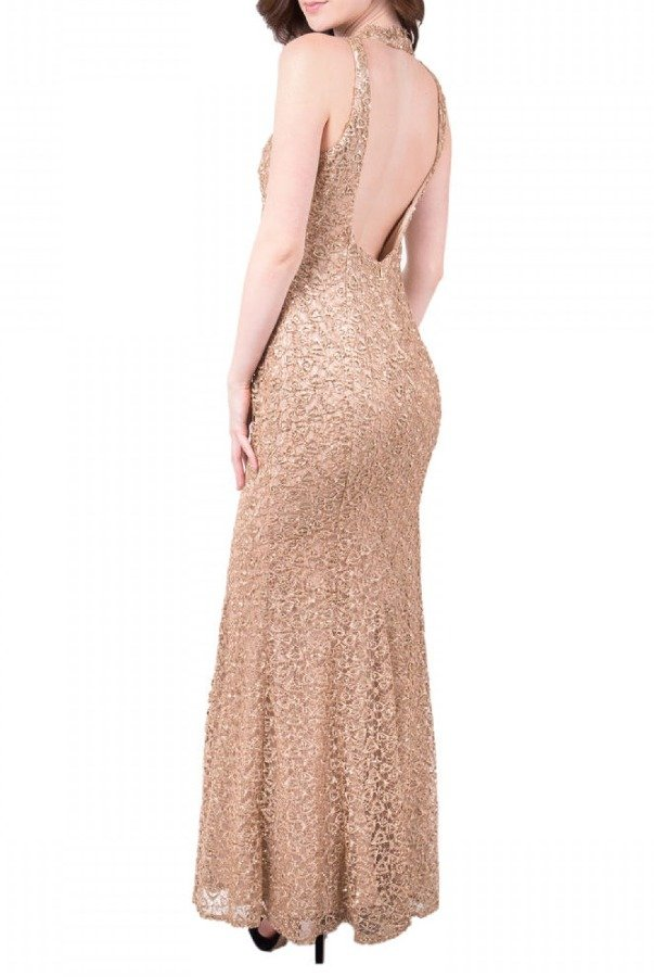 Decode 1 8 Gold Scoop Back Sequined  Gown 183963