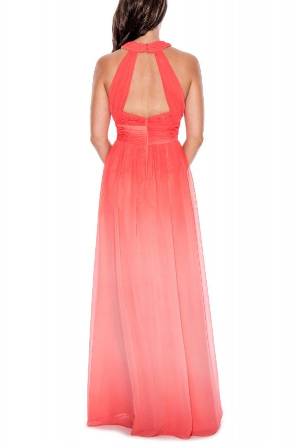 Decode 1 8 Ombre Halter Ruched Open Back Gown 183099