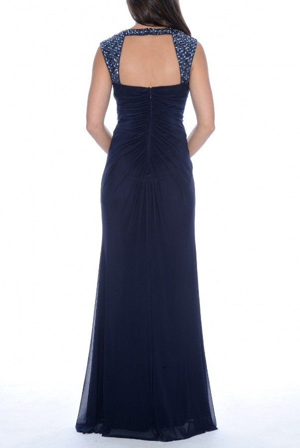 Decode 1 8 Navy Bead Embellished Strap Gown 182852