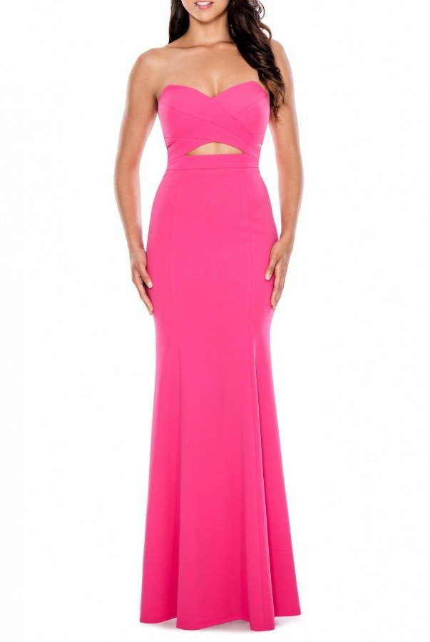 Decode 1 8 Pink Strapless Double Cutout Mermaid Gown 183497