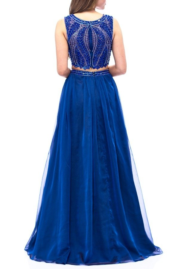 Milano Formals Blue Beaded Two Piece Chiffon Gown E1958