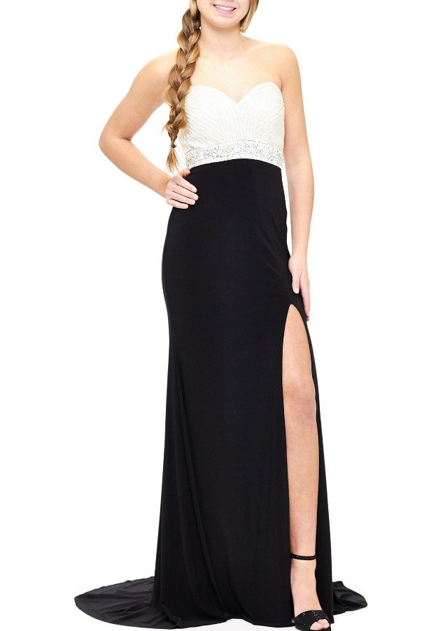 Milano Formals Black Ruched Beaded Sweetheart Empire Gown E1871