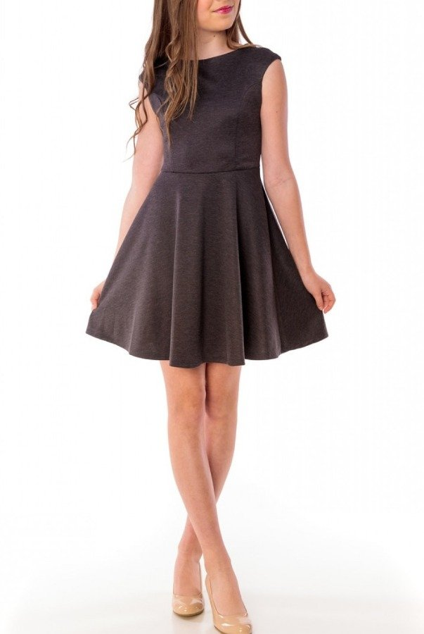 Un Deux Trois Dark Grey Cap Sleeve Dress R3243KL-G
