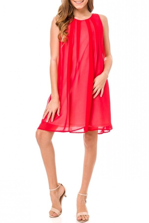 Un Deux Trois  Red Chiffon A-Line Dress T3129KB-Red