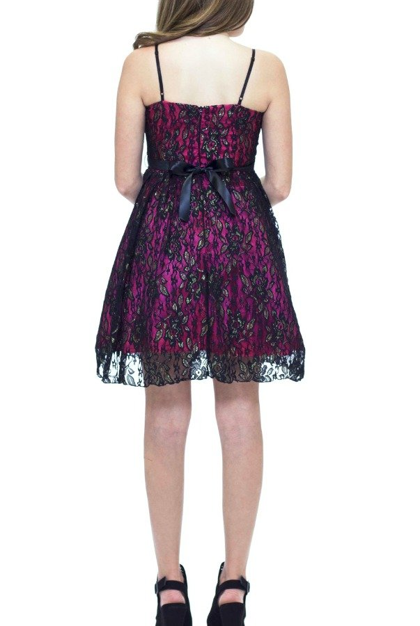Un Deux Trois Black Lace Party Dress T2845K
