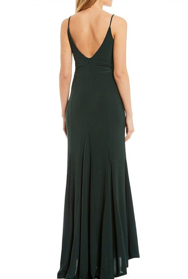 Jump Forest Green V-Neck Gown 10695-Green