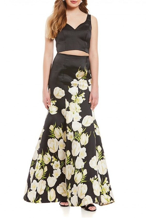 Jump Blacl Floral Two-Piece Trumpet Gown 10577