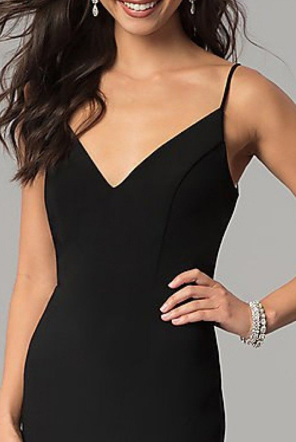 Jump Black V-Neck with Slit Gown 10695