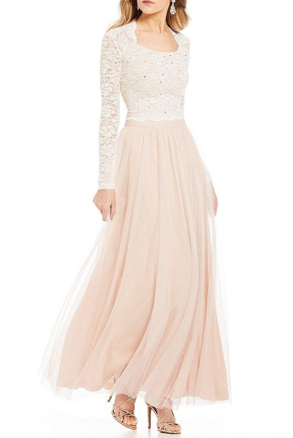 Jump Blush Glittered Sequin Lace Two Piece 10464