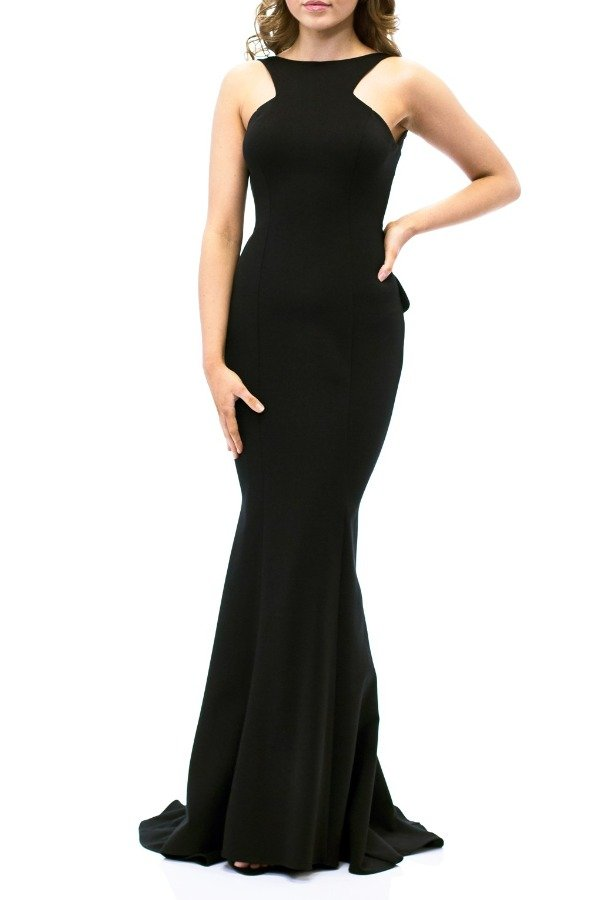 Xscape Black Low Backless Mermaid Gown XS8305-Black