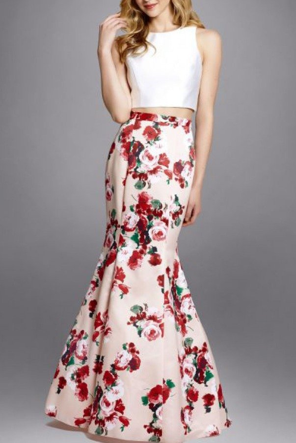 Xscape Pink Floral  Two Piece Mermaid Dress XS8474