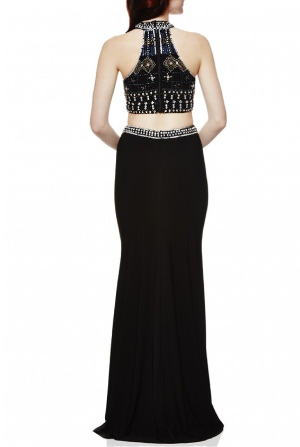Xscape Black Beaded Top Cut Out Gown XS8252