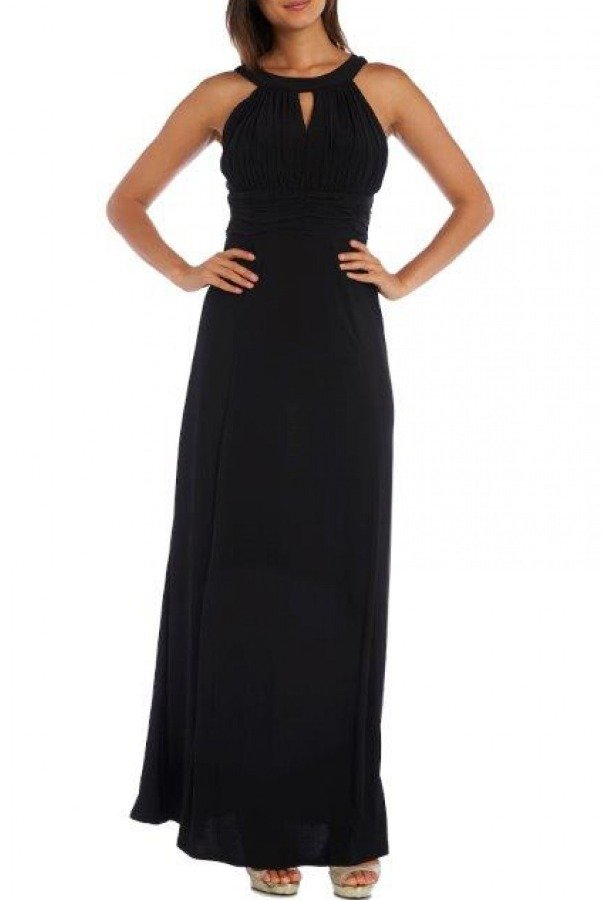 Nightway Black Ruched Top Gown 21541
