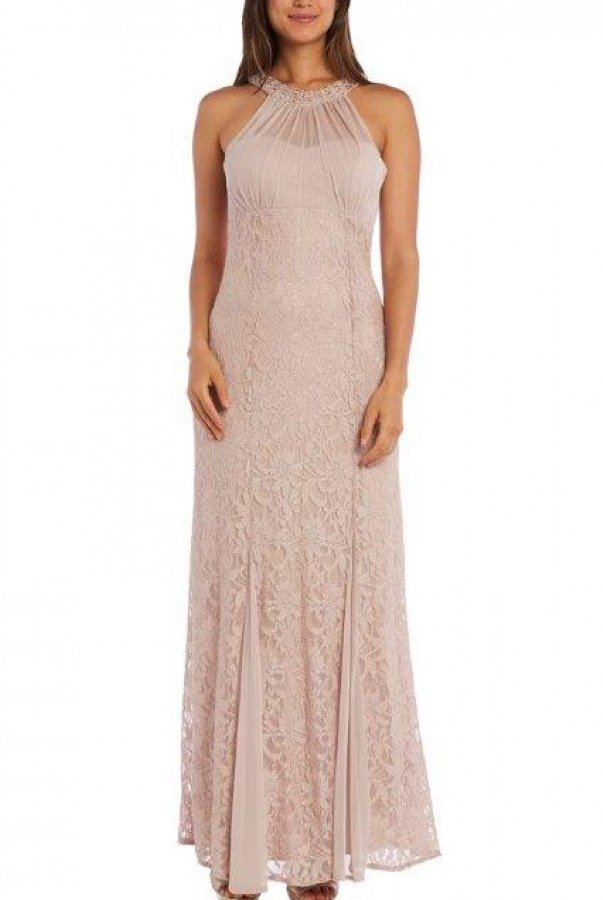 Nightway Neutral Illusion Lace Halter Gown 21378
