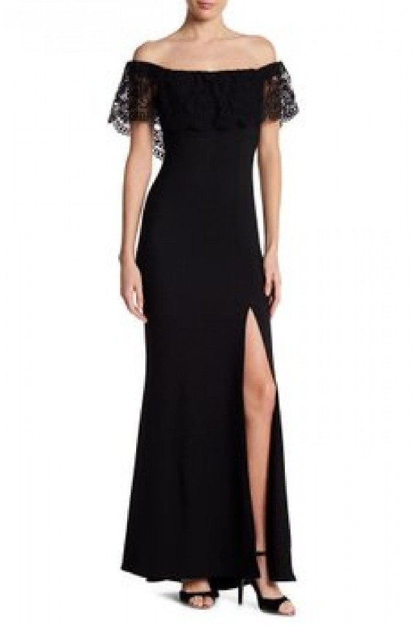 Jump Black Off The Shoulder Gown 10655