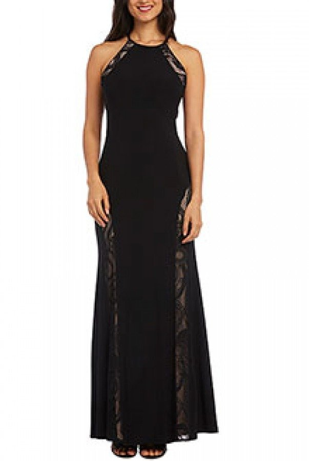 Nightway Black Shimmery Lace Gown 21499w