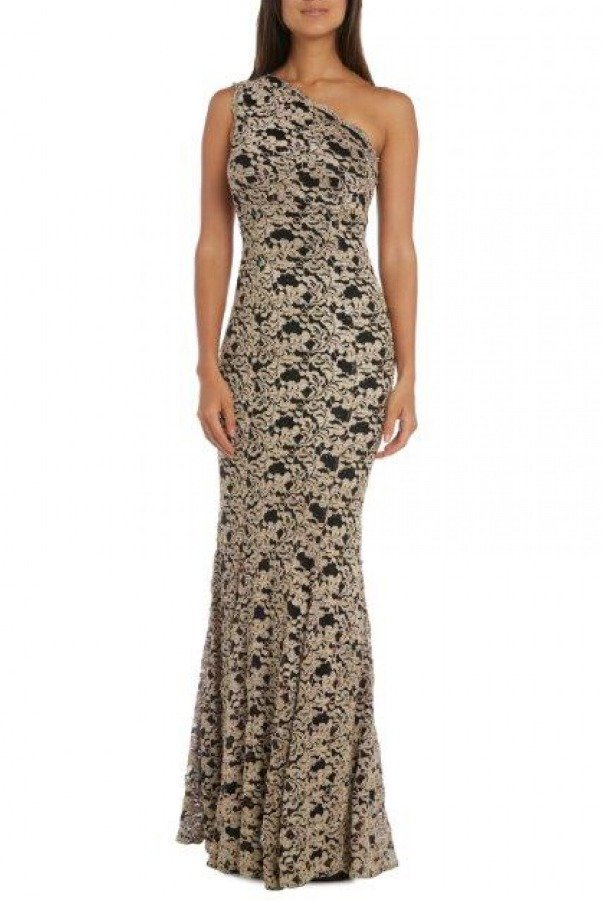 Nightway Black Gold One Shoulder Gown 21474