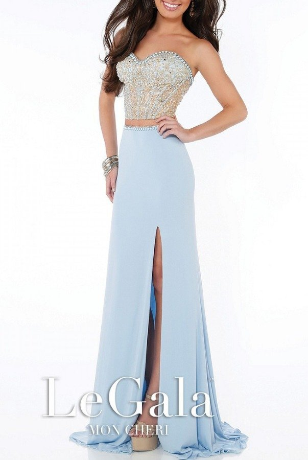 Mon Cheri Blue Strapless Beaded Two-Piece Gown 116564