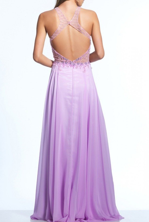 Dave and Johnny Chiffon Flair Illusion Gown 2124